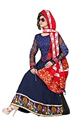 Indian Boutique Blue Color Pure Bembre Top with Santoon Inner and bottom and with Chiffon Dupatta