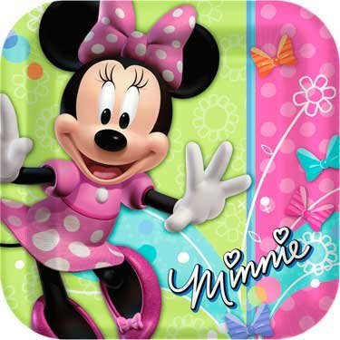 Disney Minnie Mouse Bow-tique Square Dinner Plates Party Accessory - 1