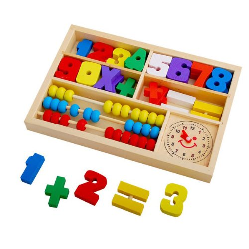 Pack of Learning Digital Alarm Clock Abacus Calculation Box, Comes with 0-9, 10 Numbers of Different Colors and Mathematic Symbol, Abacus and a Clock - 1