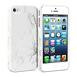 iPhone 4s Case, GMYLE Snap Cover Glossy for iPhone 4s - White Marble Pattern Slim Hard Back Case
