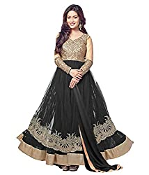 Regalia Ethnic New Collection Black Embroidered Net Semistitched Dress Material With Matching Dupatta