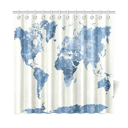 InterestPrint World Map Custom Shower Curtain 72 X 72 Inches Polyester ...