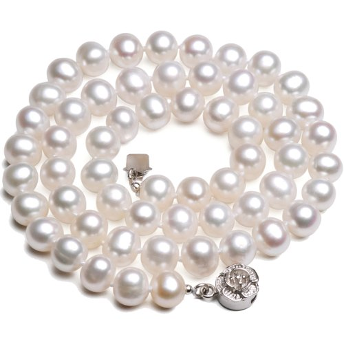 White 6-7mm AAA Cultured Pearl Strand Princess Necklace w. Platinum Overlay CAREFREE Sterling Silver Rose Clasp 18