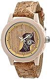 Sprout Womens ST/6805TNCK Owl Motif Tree Bark Dial Cork Strap Watch