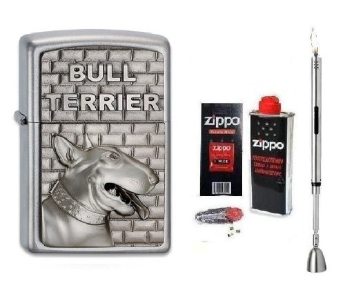 Zippo Feuerzeug Bull Terrier Emblem | Neu Spring Collection 2013 mit Zubeh&#246;r L &amp; Chrome Stabfeuerzeug + Kerzenl&#246;scher