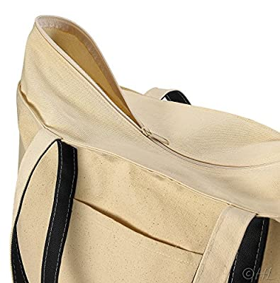 "22"" Heavy Duty Natural Canvas Tote Beach Bag (Zippered) Eco Friendly Handbag"