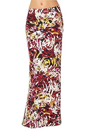 82 Days Women'S Poly Span Various Prints Maxi Skirt - E54 Fuchsia & Mustard S