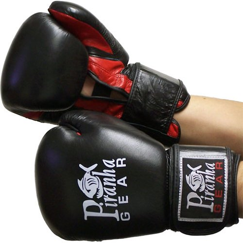 Piranha Gear Boxing Gloves, Black/Red Mesh, 16 oz. (Piranha Gear Tie compare prices)