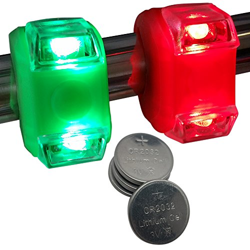 WEEKEND SALE - Green & Red Portable Marine LED Boating Lights - Boat Bow or Stern Safety Lights - Waterproof (Bow Running Lights compare prices)