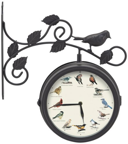 Mark Feldstein & Associates Decorative Outdoor Bird Clock and Weather Thermometer