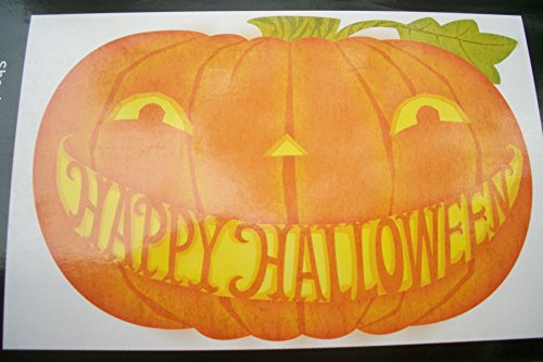 """Hallmark """"Happy Halloween"""" Carved Pumpkin Moveable Giant Halloween Cling - 22"""" X 39"""" front-1013558"""