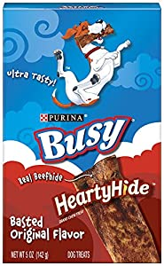 Busy HeartyHide Dog Treats, Basted Original Flavor, 5-Ounce Pouch, Pack of 12