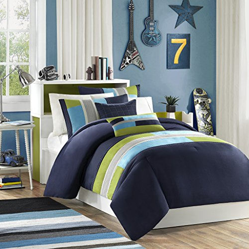 Pipeline Comforter and Decorative Pillow Set Blue Full/Queen