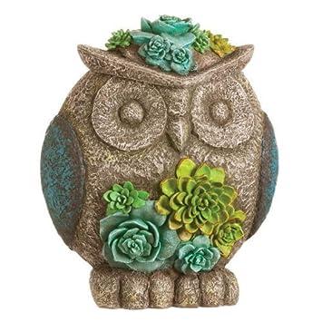 Succulent Garden Owl Keyhider Statue by New Creative
