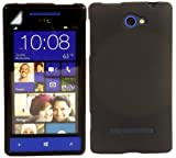 Gel Shell Case Cover And Screen Guard For HTC Windows Phone 8S / Black