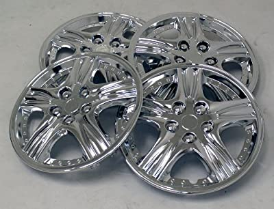 TuningPros WSC-510C15 Chrome Hubcaps Wheel Skin Cover 15-Inches Silver Set of 4