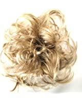 Larger Size Feather hair bun scrunchie wrap MEDIUM HONEY HIGHLIGHTED BLONDE