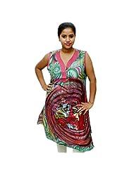Odishabazaar Women's Cotton Pink Floral Printed Kurta