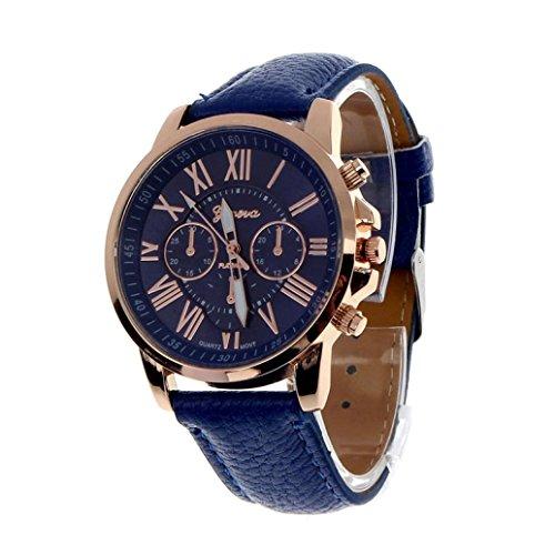 Dreaman Women's Geneva Roman Numerals Faux Leather Analog Quartz Watch Dark Blue