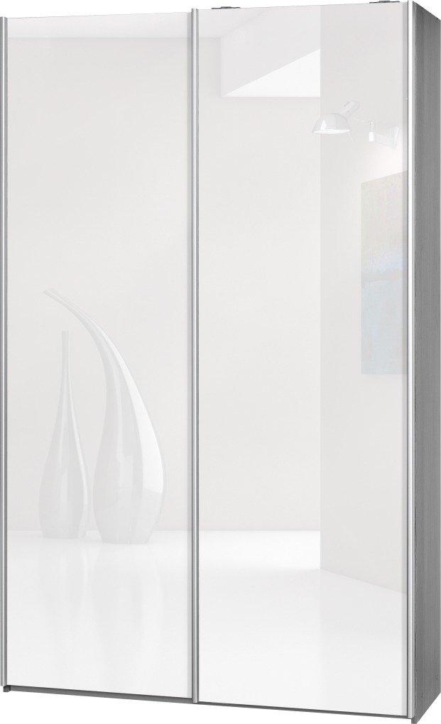 """Schwebetürenschrank """"Soft Plus Smart Typ 40"""", 120 x 194 x 42cm, Silbereiche/2 x Weiß hochglanz"""