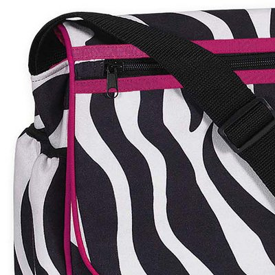 Hot Pink and Zebra Print Messenger Baby Diaper Bag