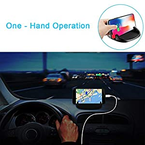 Car Dash Phone Holder, Smartphone Car Mount Dock with Charging Cable Clip Keys Holder for Dashboard, Anti-Slip Washable Adhesive Phone Stand Compatible with iPhone, Samsung etc. Black Silicone (Color: Black Silicone Shockproof)