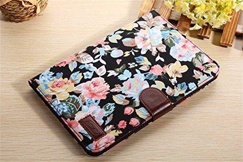 Ipad Mini Case, Ipad Mini 2/3 Borch Fashion Luxury Multi-Function Protective Floral Series Light-Weight Folding Flip Smart Case Cover For Apple Ipad Mini, Ipad Mini 2 & 3 (Black)