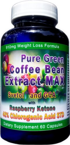 910mg Pure Green Coffee Bean Extract MAX with Svetol ~ GCA ~ Raspberry Ketones ~ Strongest Diet Pill