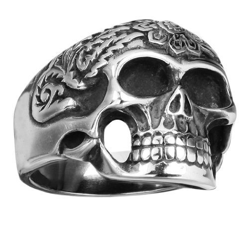 Stainless Steel Skull Ring with designs around the head (Available in Sizes 10 to 14) size11