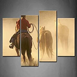 Modern Home Decoration painting 4 Panel Wall Art Cowboy Bringing Horses In For The Evening The Picture Print On Canvas Animal Pictures piece