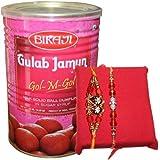 Handicrunch Bikaji Gulam Jamun 1.25 Kg With Fancy Dora Rakhi Combo Set Of 2