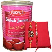 Handicrunch Bikaji Gulam Jamun 1.25 Kg With Fancy Dora Rakhi Combo Set Of 2