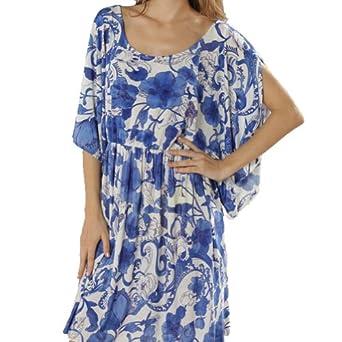 Bohème Paréo Sarong Robe de Plage Party Cover Up Femmes Maillots de Bain Bikini (Fleurs Bleu Blanc)