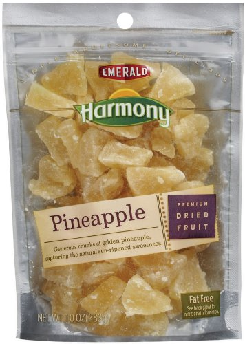 Emerald Harmony Dried Pineapple 10 Ounce Bags Pack of 12