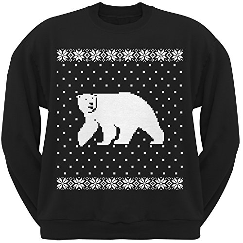 Big Polar Bear Ugly Christmas Sweater Black Crew Neck Sweatshirt - X-Large