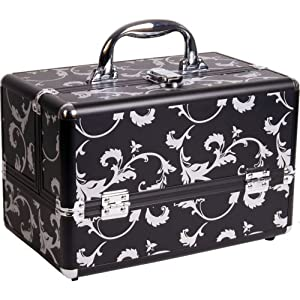Click Here For Cheap Amazon.com: 12 Inch Silver Floral In Black Aluminum Train Case Makeup Artist Cosmetic Organizer: Beauty For Sale