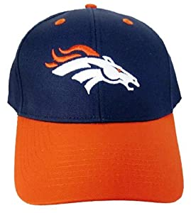 NFL Denver Broncos Basic Logo Velcro Closure Baseball Hat, Blue by Eclipse Specialties