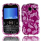 LF 3 in 1 Hard Case Cover, Stylus & Droid Screen Wiper Bundle Accessory For Tracfone Straight Talk Prepaid Cell Phone Samsung S380C (Purple Flower)