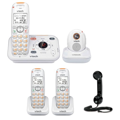 Vtech Sn6187 Careline Caller Id, Itad And Pendant + Vtech Careline Accessory Handset For 6.0 1-Handset Landline Telephone + Vtech Retro Handset For Cell Phone