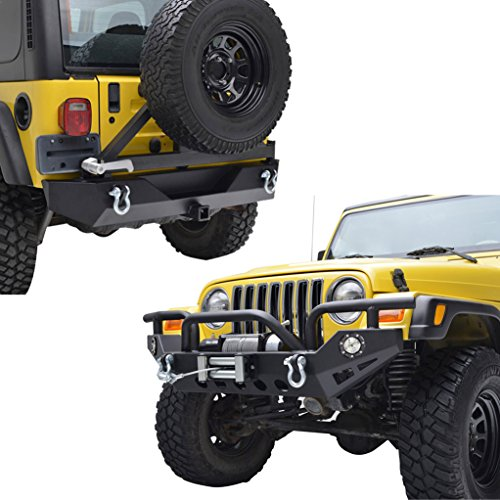 E-Autogrilles Jeep Wrangler TJ YJ Black Front Bumper with LED Lights and Rear Bumper with Tire Carrier