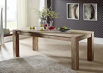 LEGNO MASSELLO SHEESHAM Tavolo da pranzo 160x100 palissandro mobili in legno massello naturale grigio BIG #404
