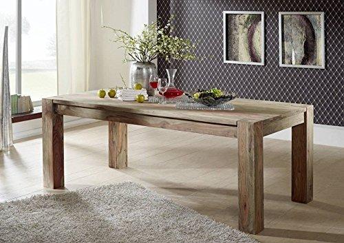 Tavolo da pranzo in legno massiccio in palissandro 200 x 100 Sheesham legno mobili Nature Grey BIG #406