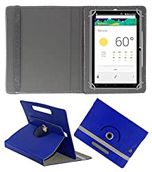 ACM ROTATING 360° LEATHER FLIP CASE FOR DOMO SLATE X15 TABLET STAND COVER HOLDER DARK BLUE