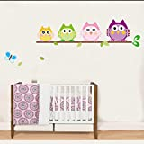 Decals Cartoon Owl Wall Posters Sticker Children Bedroom Decor