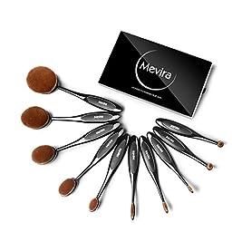Mevira Makeup Brushes, Professional 10pcs Soft Oval toothbrush Makeup Brush Set Foundation Brush Contour Powder Blush Concealer Cosmetic Brush Set