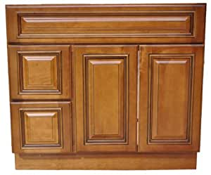 36 inch all wood heritage caramel bathroom vanity two drawers cabinet drawers on left or right for 36 bathroom vanity left hand drawers