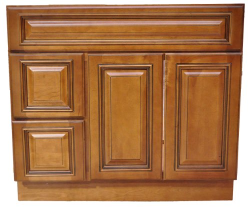36 Inch All Wood Heritage Caramel Bathroom Vanity Two Drawers Cabinet Drawers On Left Or Right Bat
