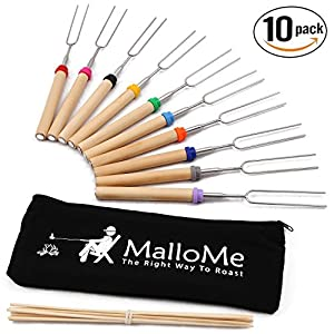 MalloMe Marshmallow Roasting Sticks Set of 10 Telescoping Rotating Smores Skewers & Hot Dog Fork 30 Inch Kids Camping Campfire Fire Pit Accessories | FREE Pouch, 10 Bamboo & Marshmallow Sticks Ebook MalloMe