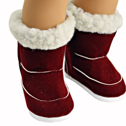 Ebuddy Wine Red Winter Wear Chirstmas Doll Shoes Boots Fits 18 Inch Doll
