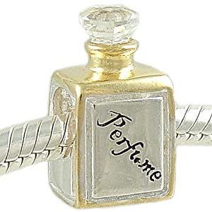 Petite Perfume Bottle 14K and Crystal 925 Sterling Silver Bead fits European Charm Bracelet